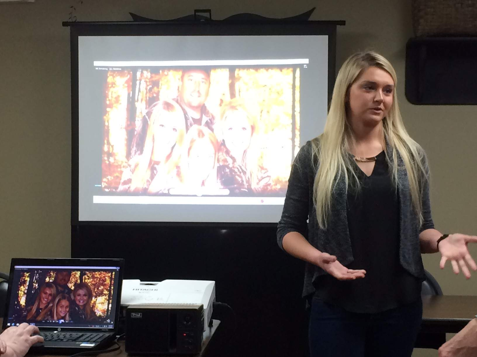 "Alli Armstrong presents photos and video of her family and their TV show, ""Grace, Camo & Lace"" at the Eldorado Rotary."