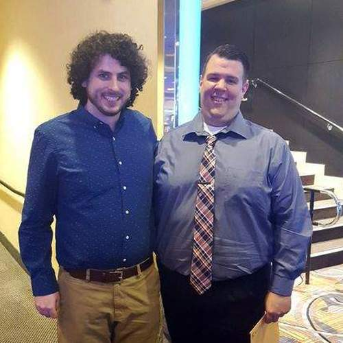 "Pistol City Restaurant and Saloon general manager Kyle Hinnerichs (right) is pictured with ""Jeopardy!"" 2015 Tournament of Champions winner Alex Jacob, who was Hinnerichs's plus-1 lifeline on ""Who Wants To Be A Millionaire?"