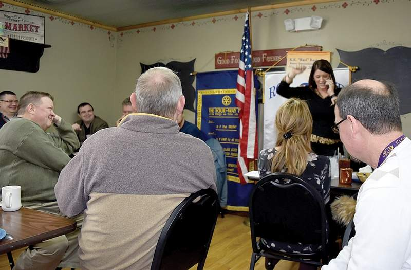 Eldorado Rotary president-elect Caleigh Bruce reacts as she gets news from Ferrell Hospital CEO Alisa Coleman that Ferrell Hospital's expansion plan has been approved.