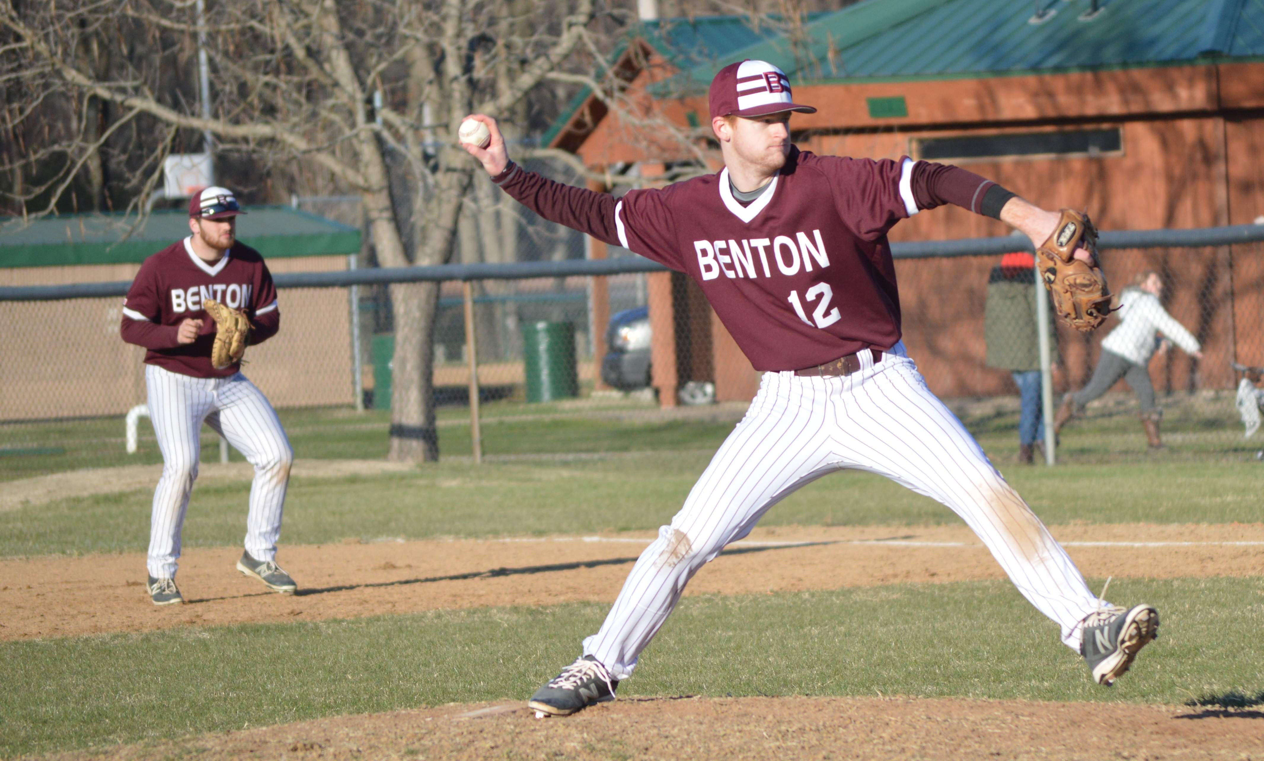 Senior Derek Oxford throws a pitch during the fifth inning of the Rangers' Wednesday afternoon game against Centralia.