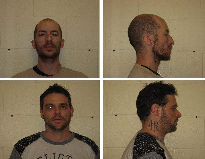 Monte H. Johnson (top) and Kevin W. Shuman face multiple charges after a March 23 traffic stop in West Frankfort.