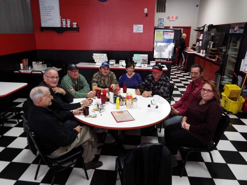 The names of the folks at the liars' table at Kalin's have not been changed to protect their identities. They are (from left) John Alongi of Du Quoin; Ray Hawkins of Pinckneyville; Jimmy Jarvin, Ross Wyatt Jr., and Linda and Ross Wyatt of Dowell; and Robert and Amy Bridges. Kenny Stacey, a regular at the liars' table, may or may not have been present. (He claims, occasionally, to be in the witness protection program.)