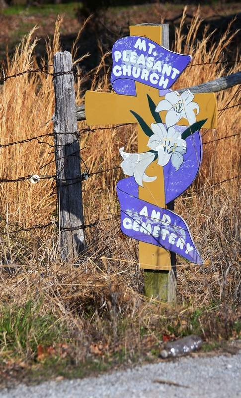 This roadside sign lets motorists know the historic old Mt. Pleasant Church is nearby.