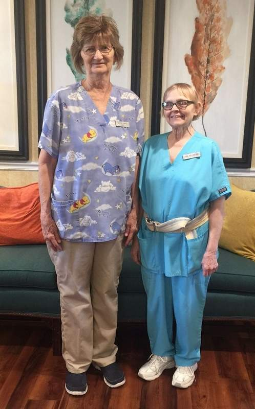 StoneBridge Nursing and Rehabilitation in Benton celebrated the longtime service of two employees on Wednesday. Linda Kelley, pictured on the right, is a CNA and has worked since April 7, 1987. Karen Smith, at left, is in the housekeeping department, and she has been with StoneBridge since July 29, 1986.
