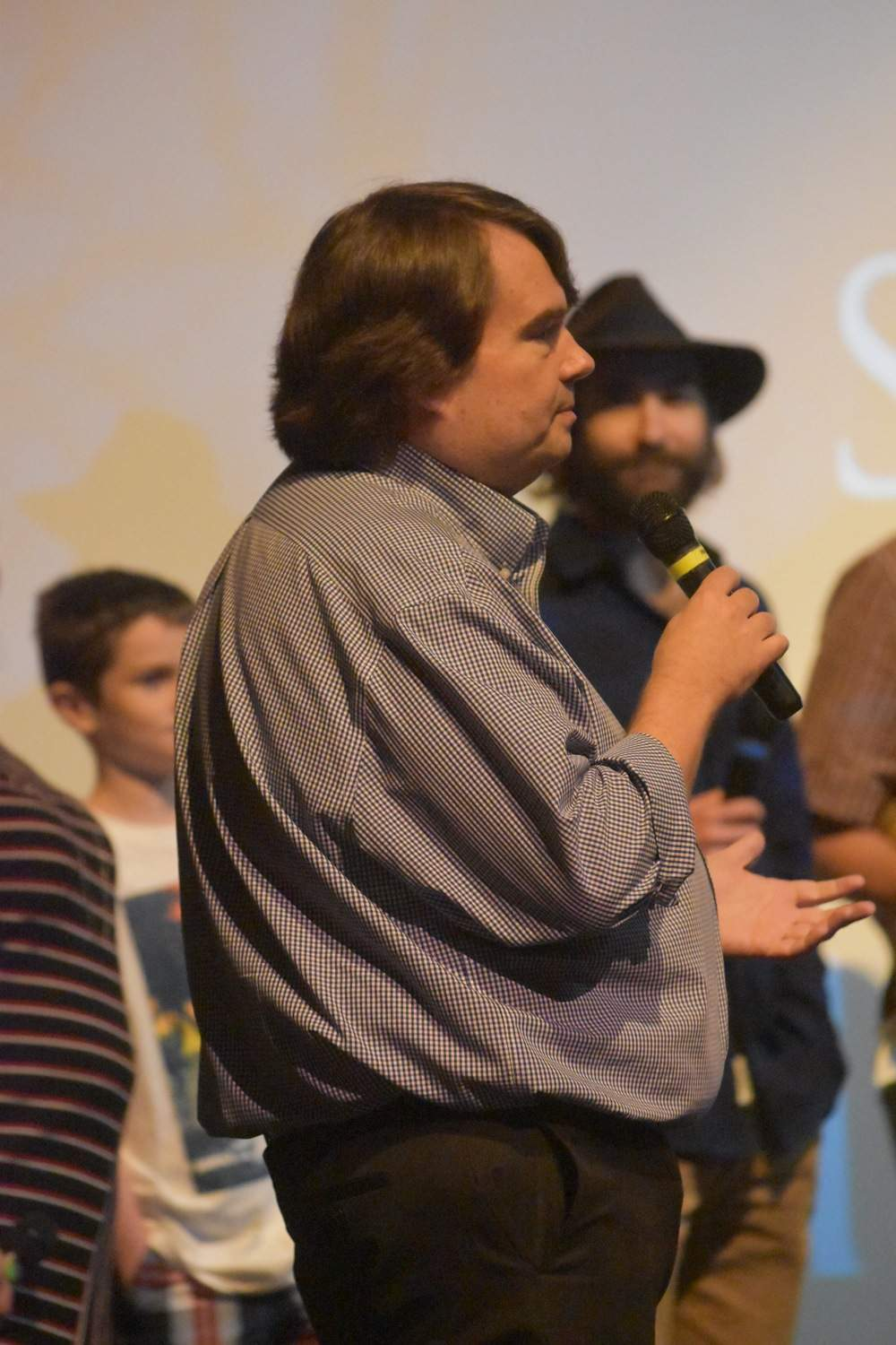 Jon Musgrave, local historian and event coordinator for Saturday night's screening, fields questions from audience members for director Hunter Adams.