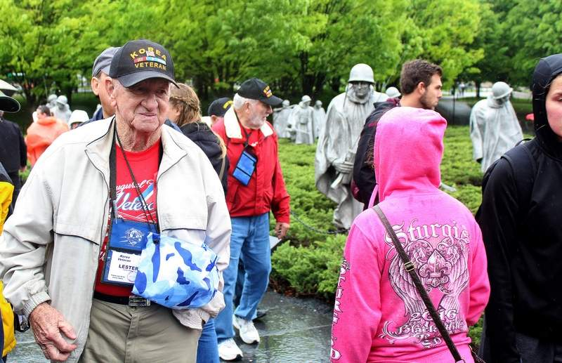 Crab Orchard resident and Korean War veteran Lester Emery walks through the Korean War memorial in Washington D.C. on Tuesday. While at the memorial, Emery was greeted by a group of high school students from Wyoming, who each shook his hand and thanked him for his service.