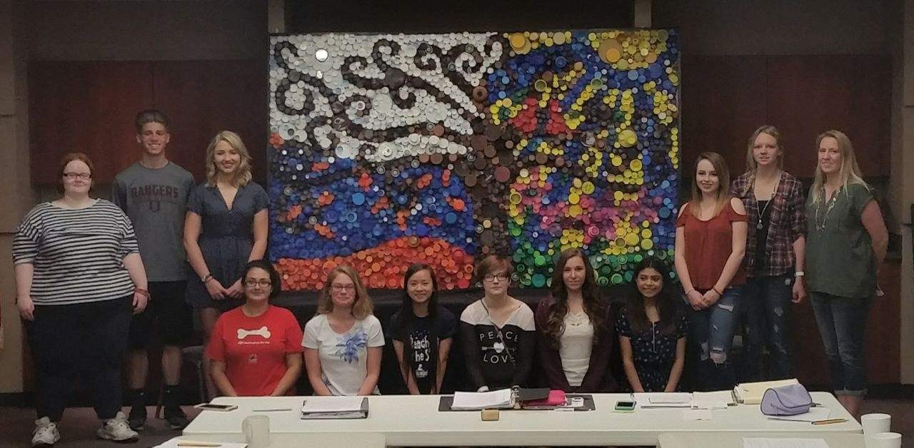 Members of Benton High School's chapter of the National Art Honor Society presented the Franklin Hospital with a 3-D mural they created from bottle caps. 'This was a true partnership between the students, their teacher, Amber Akes, and the community,' said Franklin Hospital Auxiliary member Mary Blondi, chairperson for the project. The project satisfied community service hours for the students, who were excited to have their creation get a permanent home at the hospital.