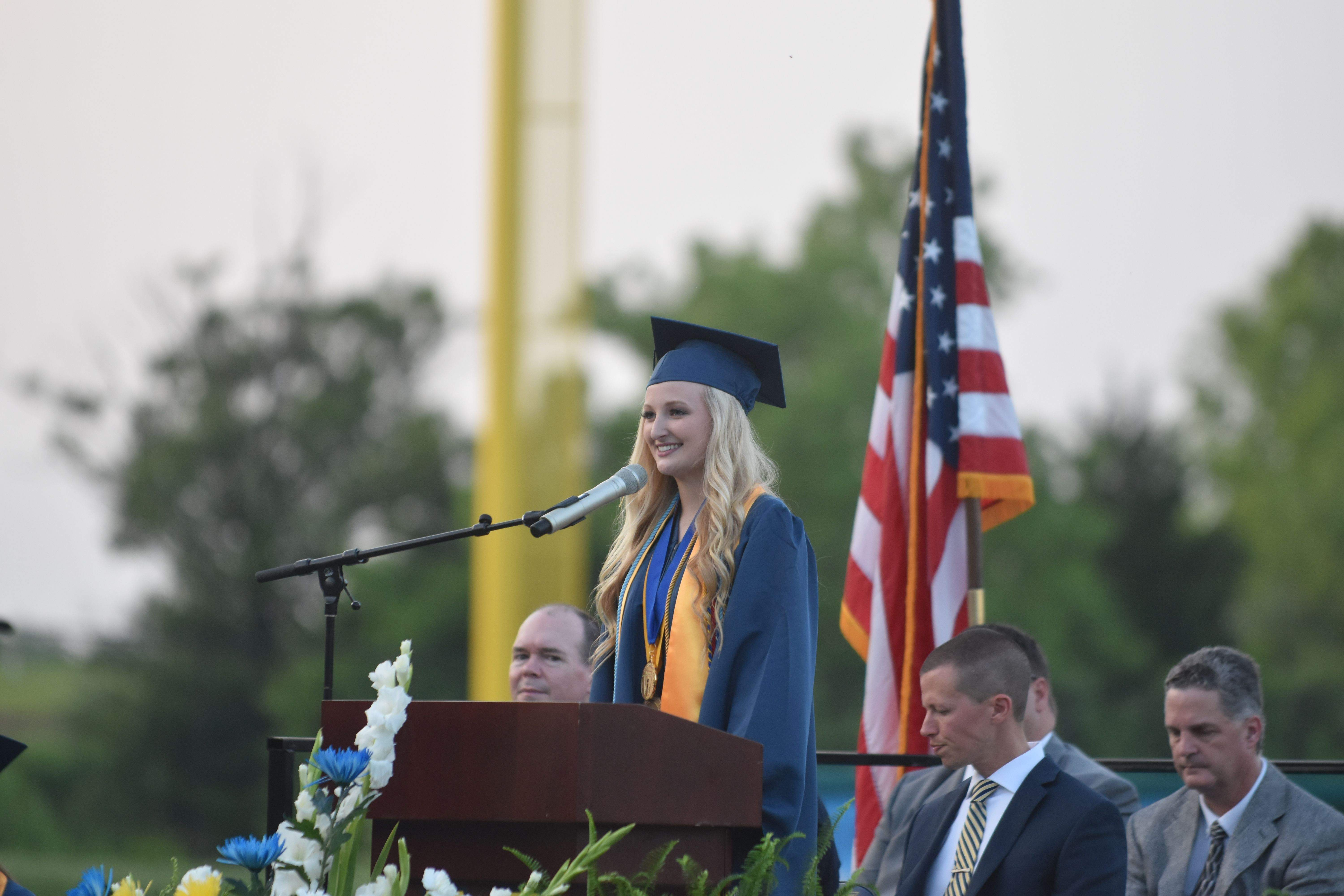 MHS Salutatorian Alyssa Taylor, the student with the second-highest grade-point-average, delivered her address to the graduating class at Thursday's commencement ceremony.