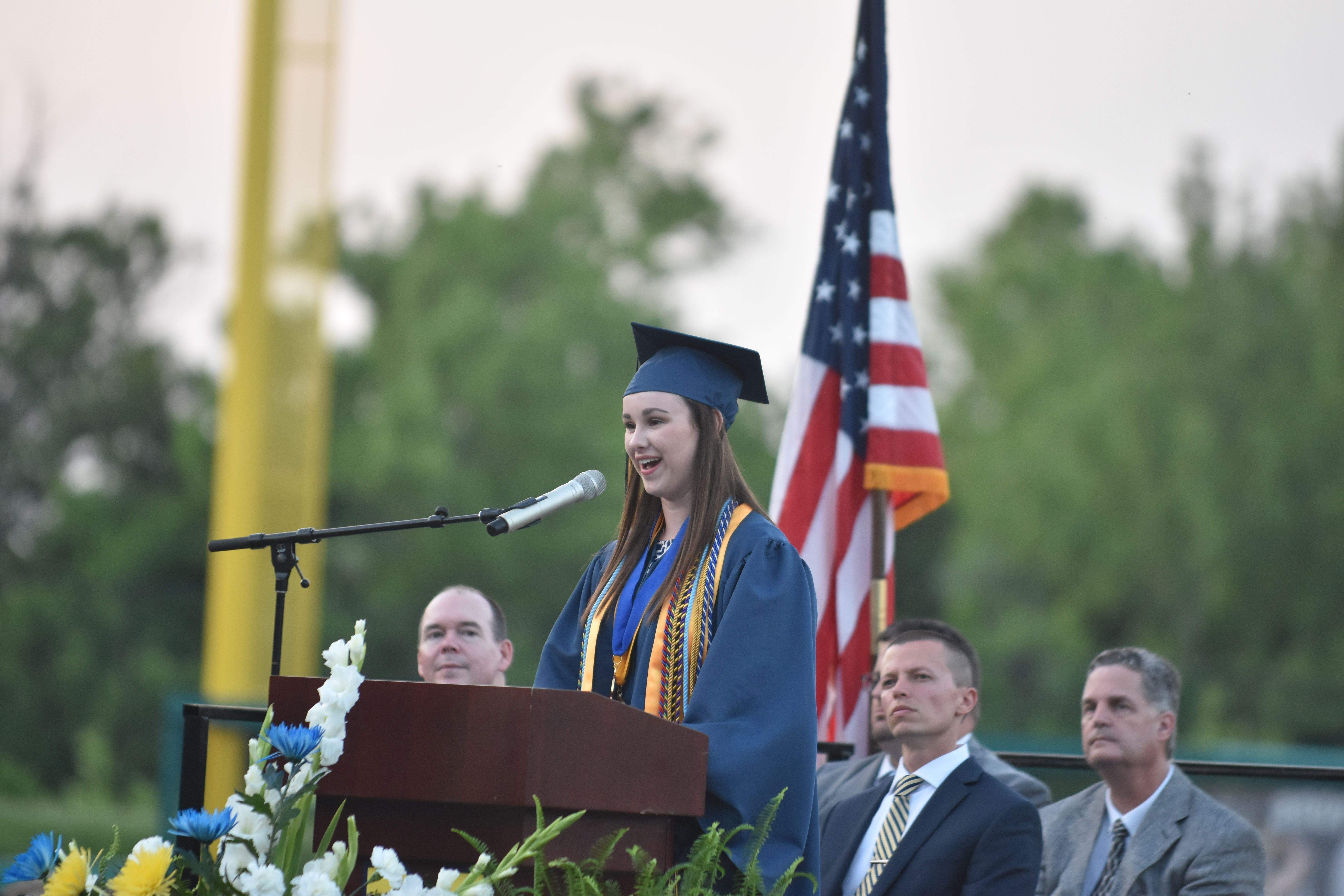 MHS valedictorian Anna Bartle is shown here delivering her address to the Class of 2017 during the commencement ceremony Thursday.