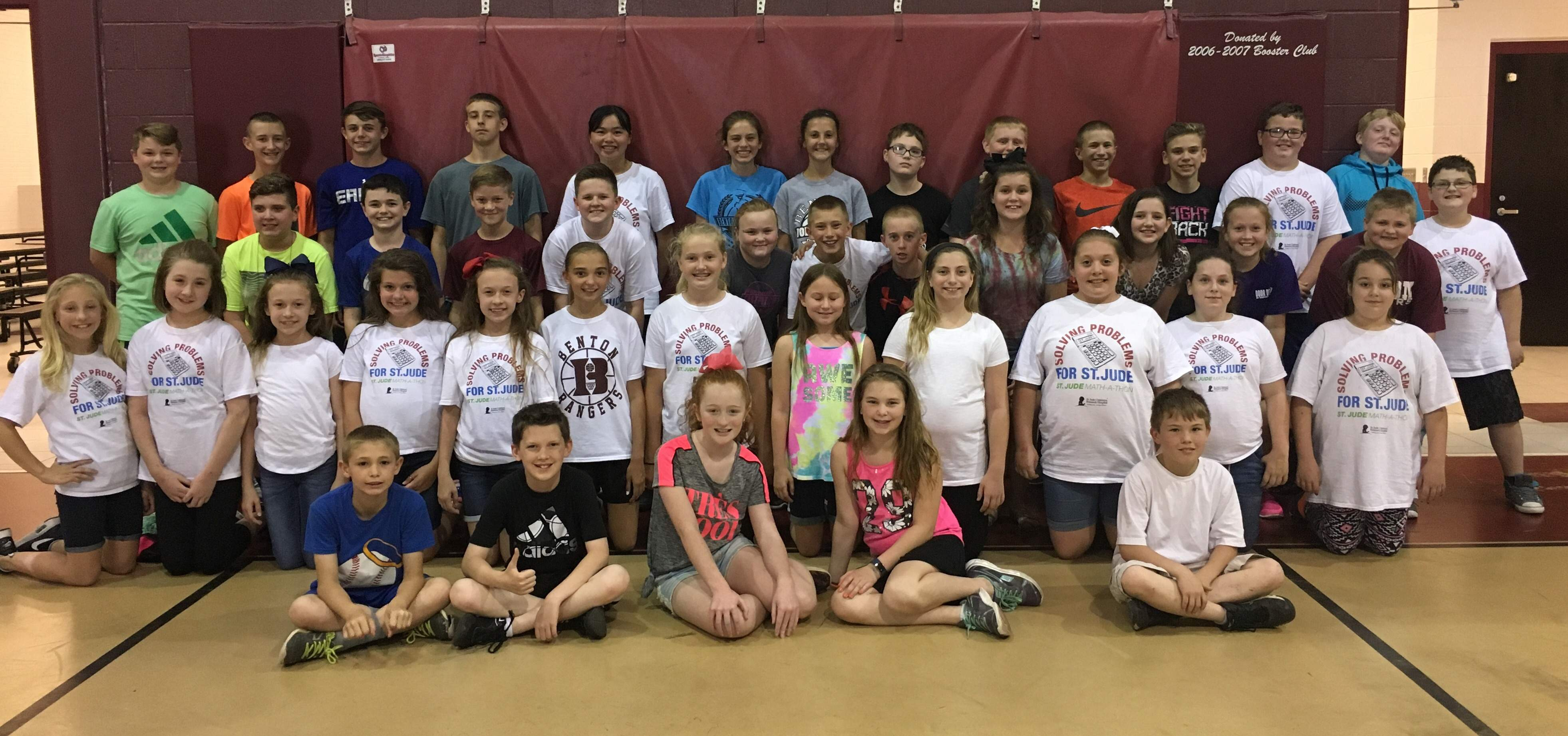 Some of Benton Grade School's top donors are (front row, left to right) Coleby Worley, Talon Stewart, Amelia Morris, Jacie Minor, Justin Martin, (second row) Brooklyn Frailey, Emma Bacon, Sydnie Lampley, Ashlyn Lampley, Sophie Lampley, Emma Milby, Addi Krueger, Alyssa Dodd, Riley Mize, Abby Welch, Gabby Webb, Kortney Wright, (third row) Joey Copple, Luke Melvin, Roman Rechsteiner, Jace Melvin, Hannah Cardwell, Lane McCollum, Lance Jerkins, Shelby McClerren, Jaysa Hinman, Ava Groves, Eli Jennings, Morgan Hutchcraft, (top row) Jacob Kinsman, Cy Norman, Chase Johnston, Christian Betterton, Demi Ren, Emma Blondi, Emma Calcaterra, Jayson Conklin, Gaige Kinkade, Gaven Agnitsch, Ramie Burlison, Blake Hampton and Lucas Tiberend.