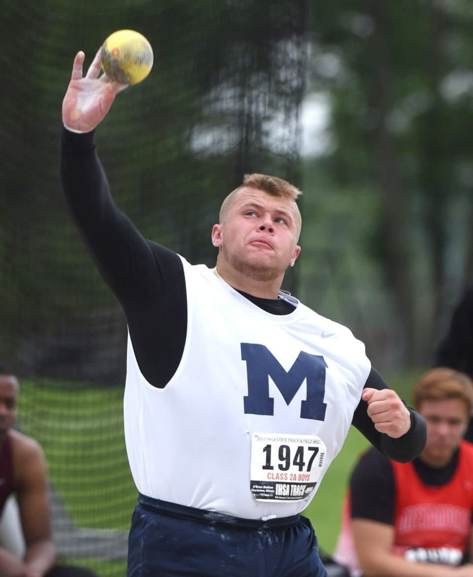 Marion's Jack Bunting throws during the Class 2A shot put during the boys state track and field finals at Eastern Illinois University in Charleston Saturday.