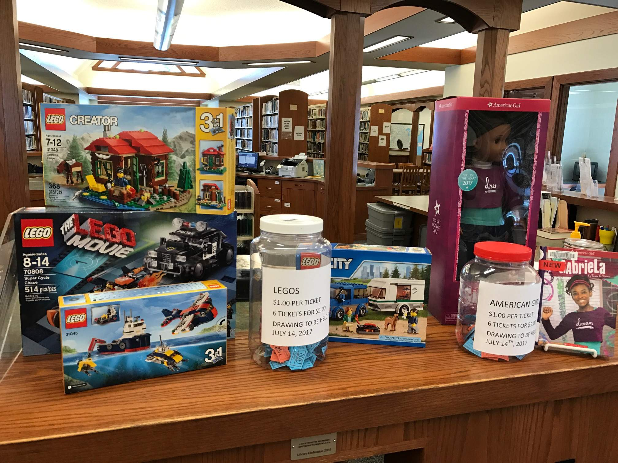 The latest raffle at the Benton Public Library features Legos and Gabriela, the newest American Girl doll.  Tickets are $1 each or six for $5. The drawing will be held July 14.