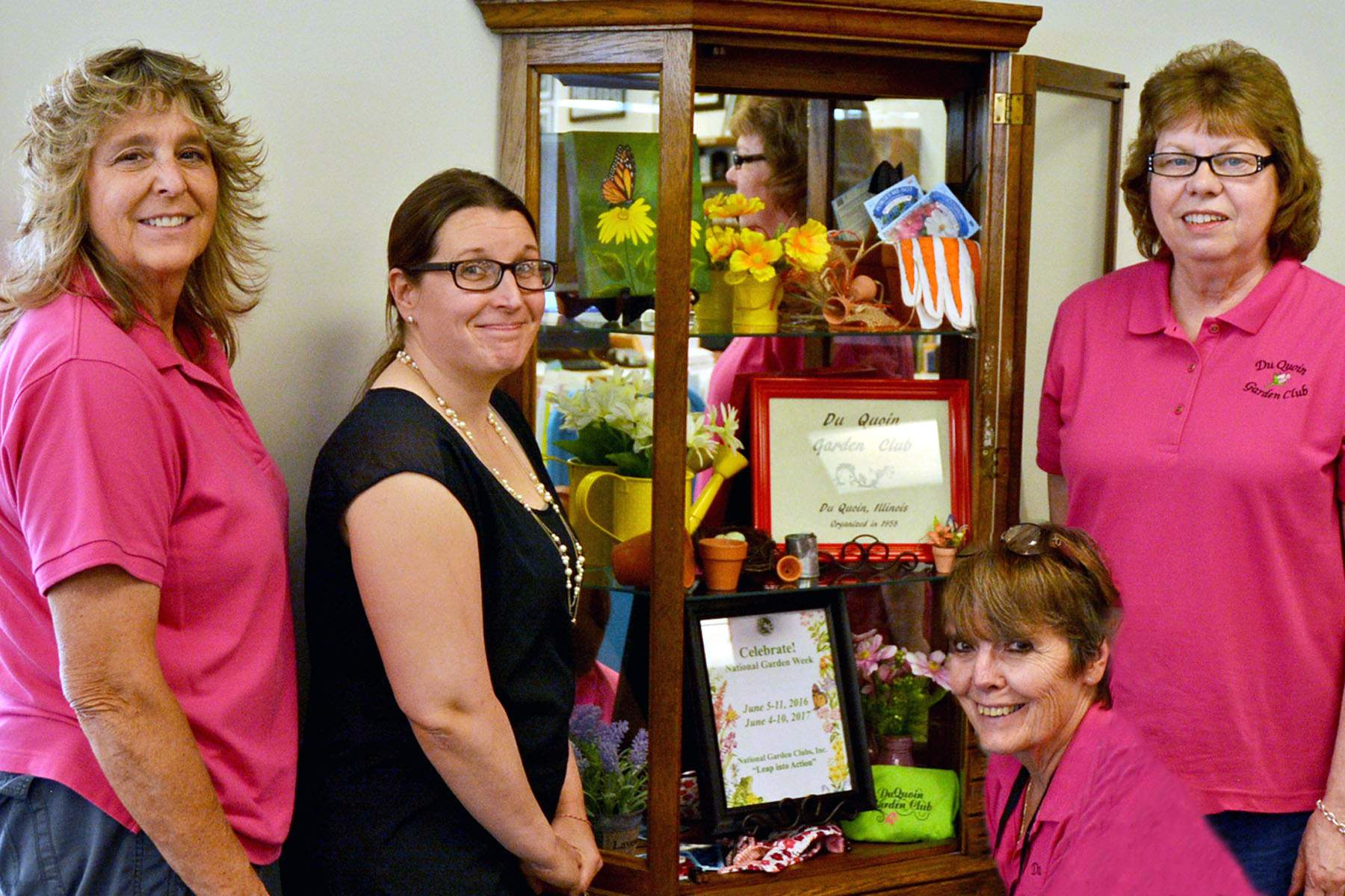 Pictured from left to right are Jean Bullock, Du Quoin Public Library Director Kristina Benson, Mary Jane Field and Julie Wilson.