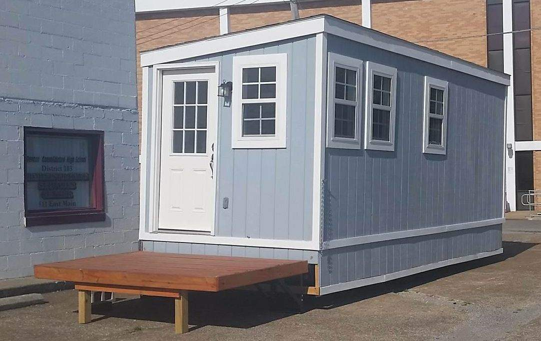 The tiny house now up for sale was built by students from Benton, Christopher and Sesser-Valier.