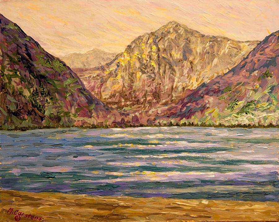 'Convict Lake, California,' an 8x10 acrylic painting by Missy Carstens, is among the many pieces of artwork on display in the new Vacation exhibit.