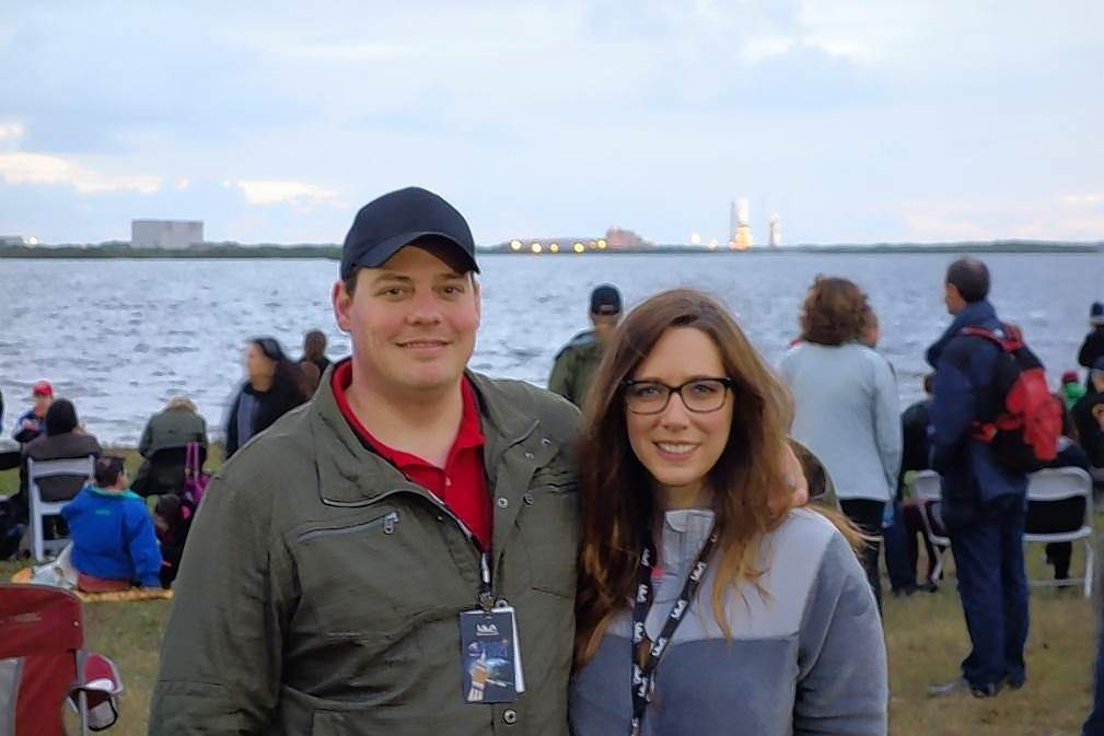 Joseph Oldham and his wife, Jessica,on the NASA Kennedy Space Center Causeway in Florida, watching the launch of Orion EFT-1 mission 2014.