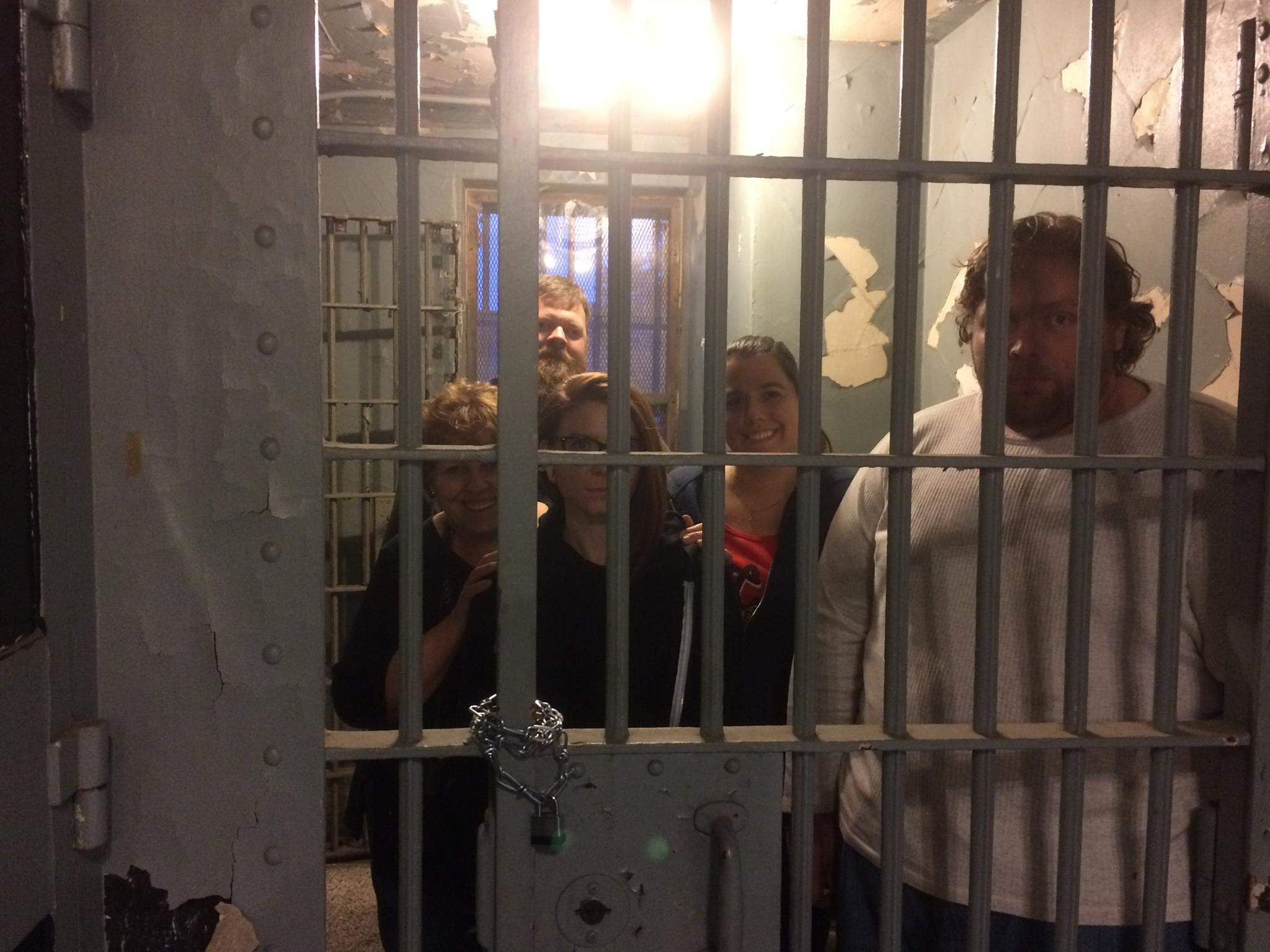 "From left, Holly Kee, Jeremy Ellis, Haley Elam, Amanda Jarzynski and William McPherson teamed up last month to face the Escape Challenge at the Franklin County Historic Jail Museum in Benton. The jail that trapped Charlie Birger for a year also held the  ""Newshounds"" beyond the 60-minute time limit."