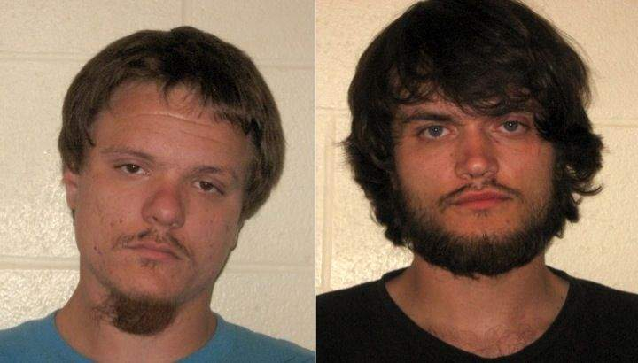 Franklin County deputies arrested Dustin T. Russell (left) and Dylan M. Russell, after responding  to a complaint involving the theft of two firearms in Orient.