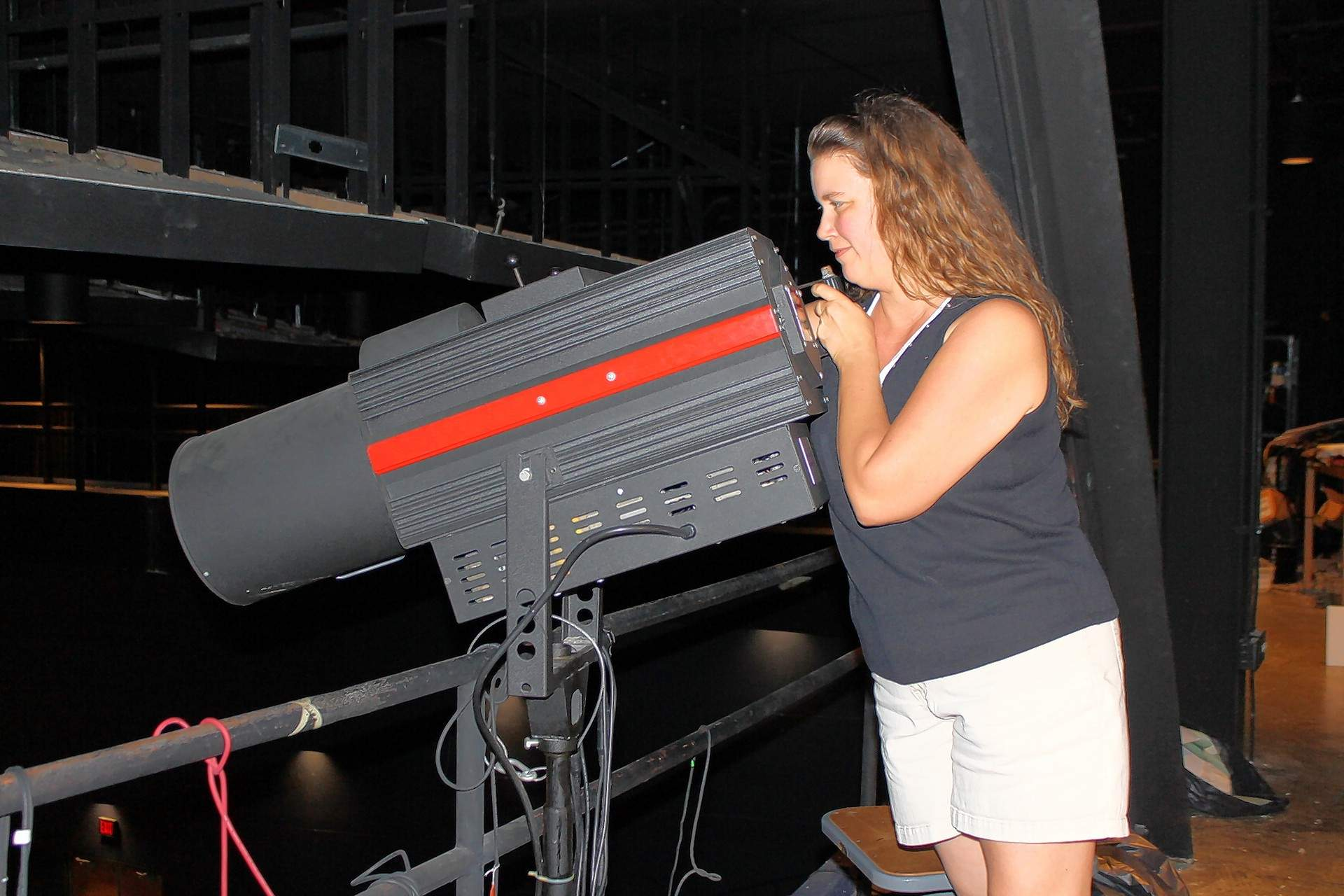 """Heather McDonald works her spotlight magic during a rehearsal for Jr. Falcon Productions' """"Seussical the Musical"""" at SIC."""