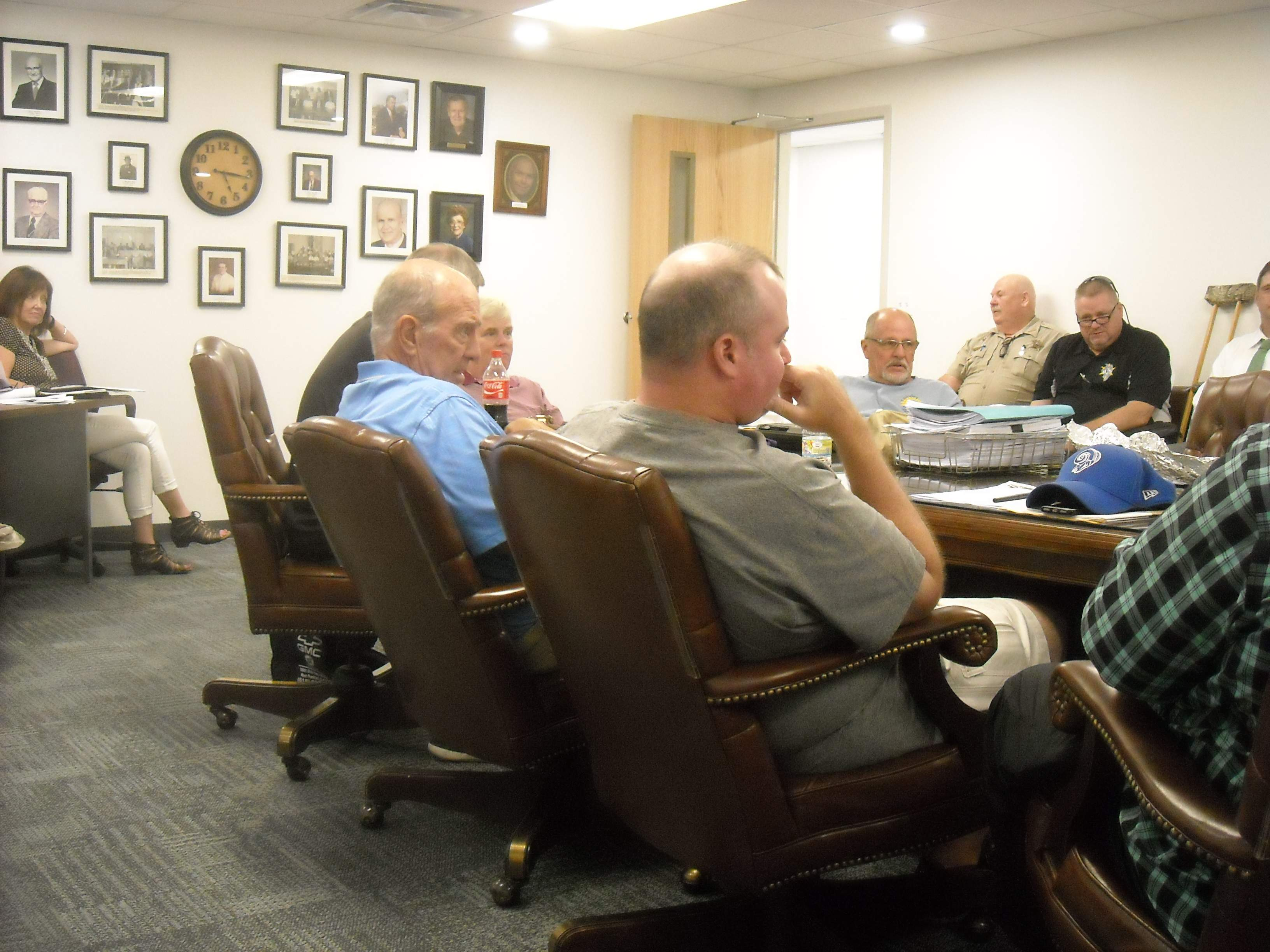 Franklin County Board members met in committee meetings Monday at the Campbell Building. Clockwise are Neil Hargis, Tom Vaughn, Keith Ward, Randall Crocker and Danny Melvin. In back are Sheriff Don Jones and Coroner Marty Leffler.