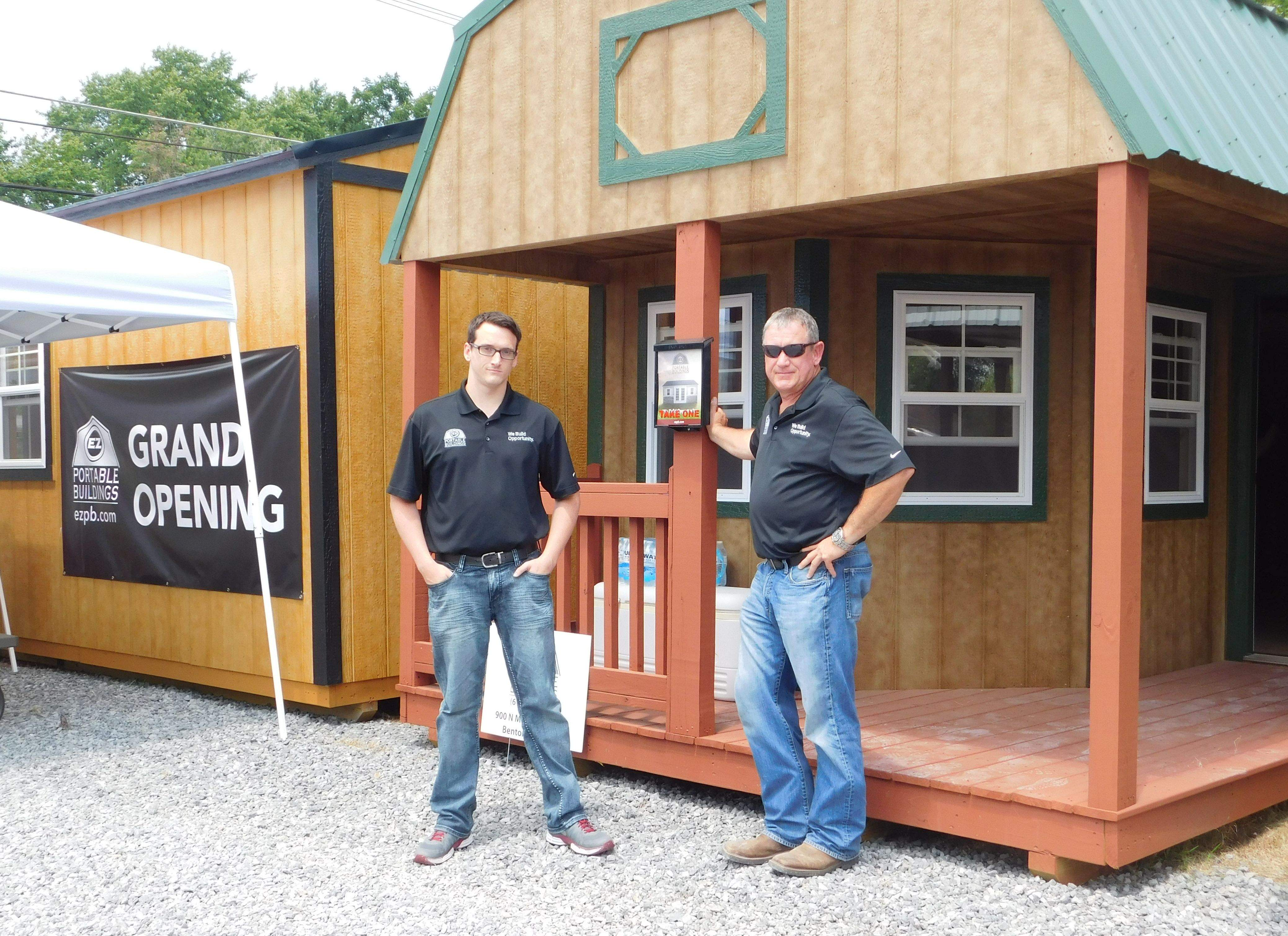 The 'tiny house' craze came to Benton on Saturday when EZ Portable Buildings and Tiny Homes held its grand opening and ribbon cutting. John Eaton (right) and his son, Tyler, own and operate the new business located at 900 N. McLeansboro St. Along with affordable financing, the Eatons also offer free delivery and set up within a 50-mile radius.