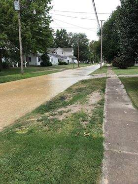This is the scene at 403 W. Church Street in Benton just before 3 p.m. Thursday afternoon.  City officials have confirmed a water line break and issued a boil order for area residents.