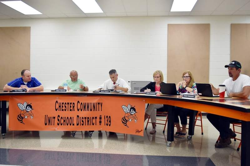 Pictured are, from left, Chester District 139 Board of Education Vice President Tom Welge, President Mitch Hammel, Superintendent Brian Pasero, District Secretary Sheri Coughlin, board member Debi Caraway and board member Trent Vasquez during a special meeting of the board on Aug. 4.