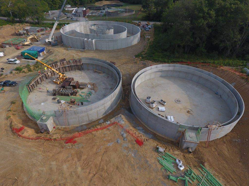 This is an aerial view of the Benton wastewater treatment plant under construction just off Petroff Road, adjacent to the old plant. The photograph was taken from a drone. Construction officials say the plant should be completed and operational by April 1, 2018.