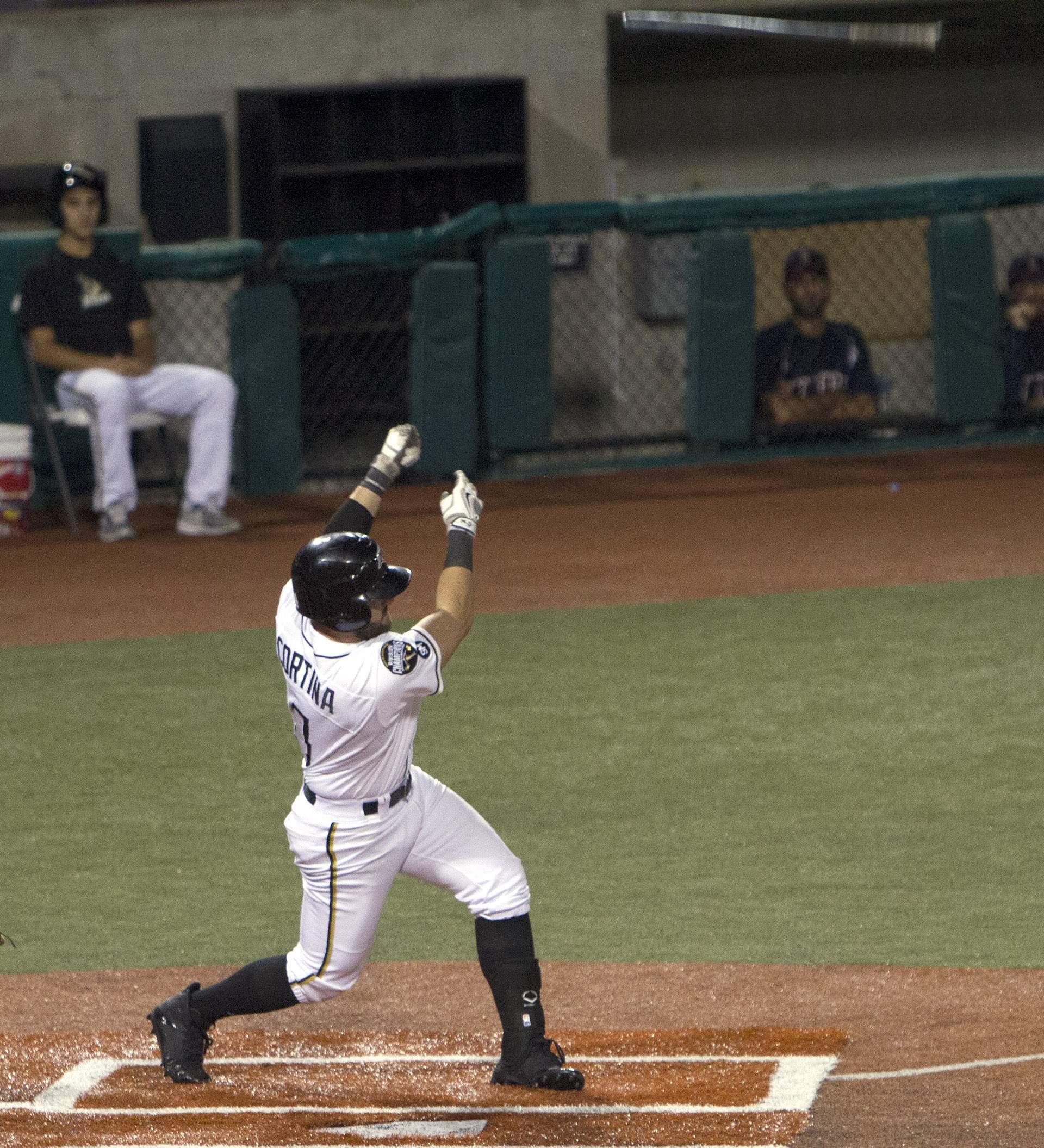 Romeo Cortina loses his bat.