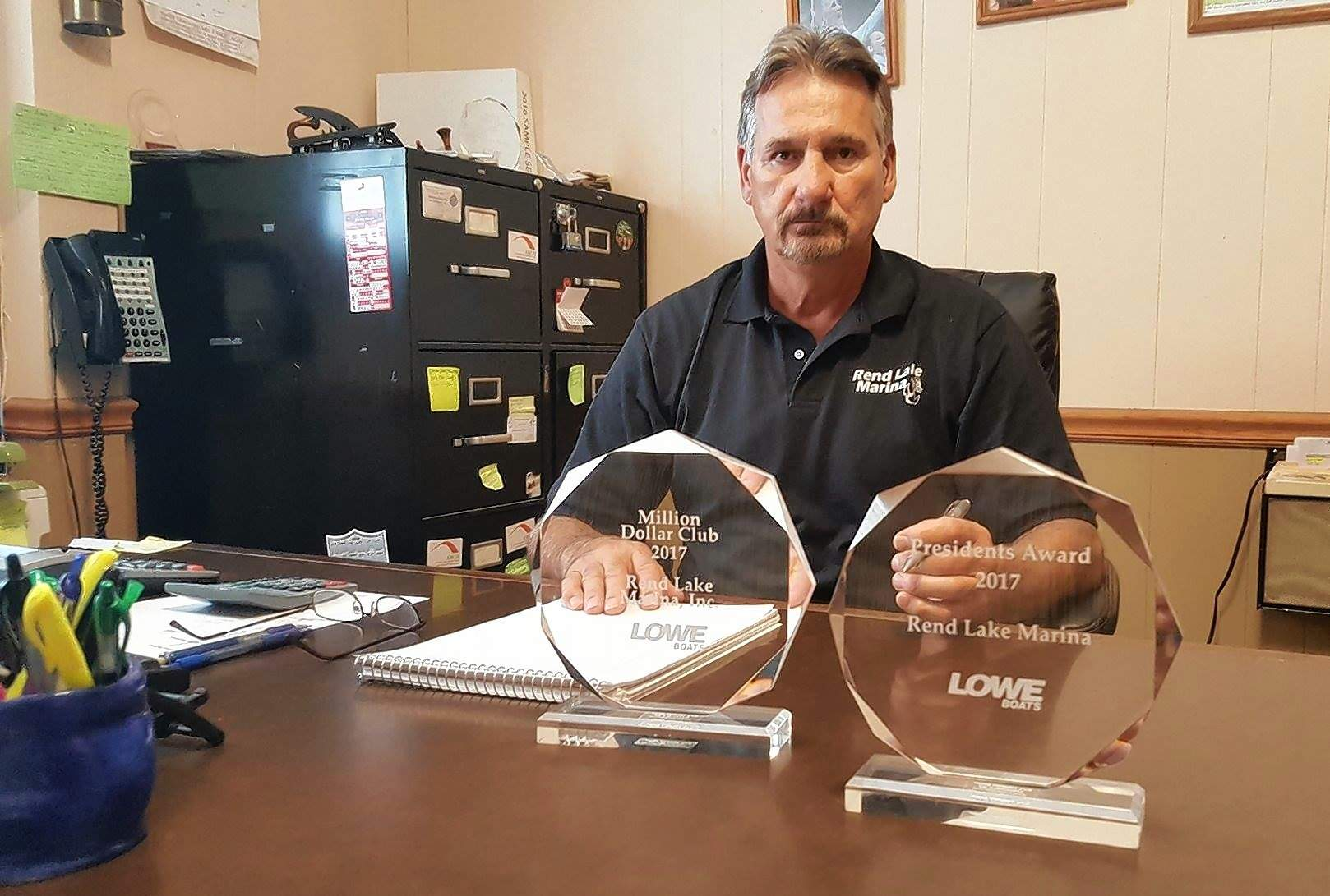 Steve Vercellino brought home the hardware from a recent convention honoring the sales and service at Rend Lake Marina near Benton.