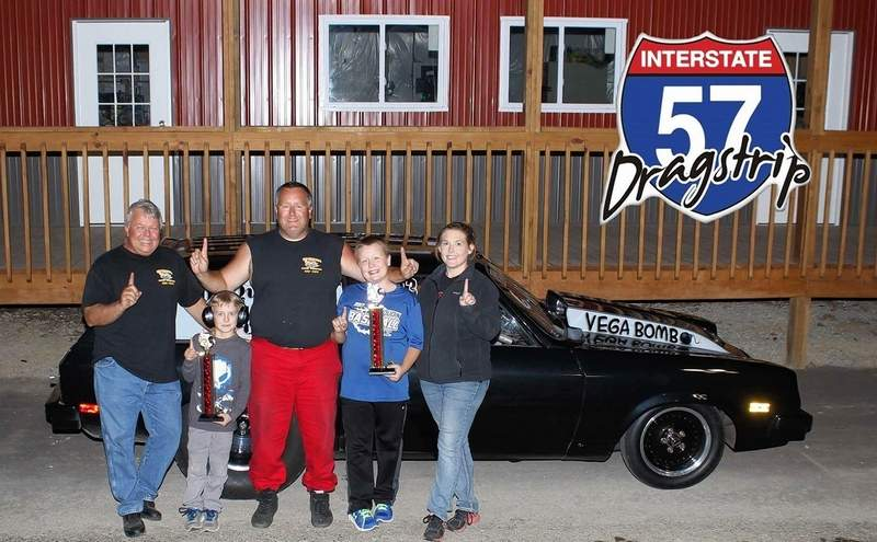 Scott Vaughn was the winner of both Pro and Footbrake this past weekend at the I-57 Dragstrip in Benton. Pictured, Vaughn (middle) poses with his family in front of his race car.
