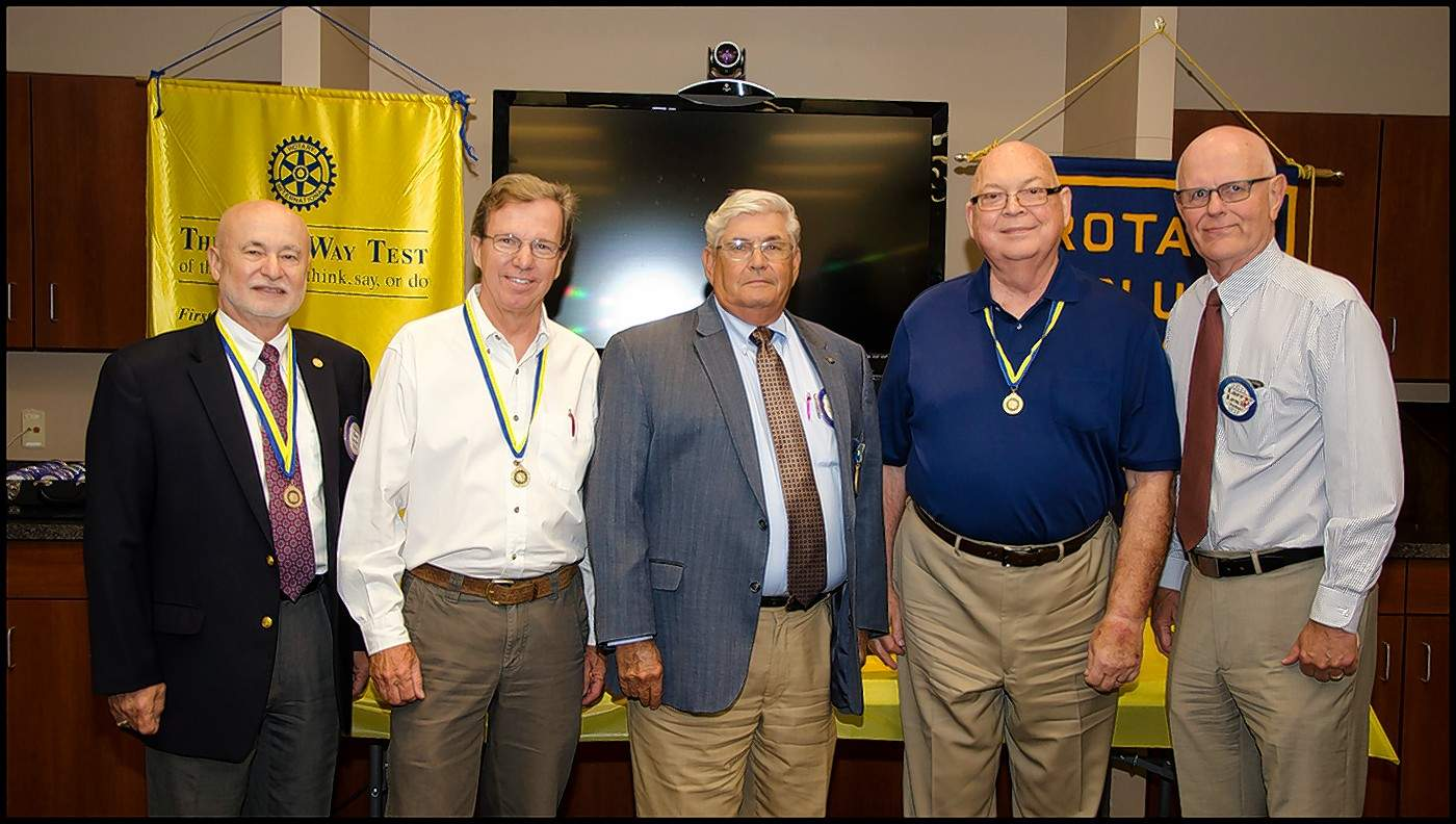 The Benton Rotary's five Paul Harris Fellows now include, from left, John D. Aiken, Dave Cooper, Ron Giacone, Charlie Cash and Larry Lewis.
