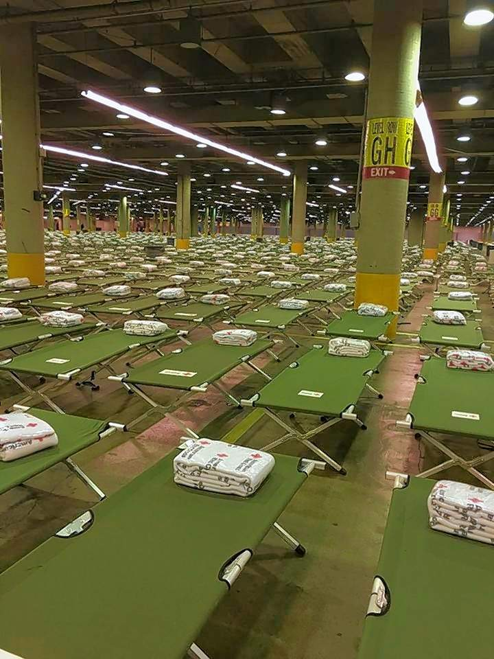 These 5,000 cots filled the Dallas evacuation center and were full by Sept. 3. A group from the Southern Baptist Disaster Relief organization is spending the week helping with child care while parents fill out FEMA forms.