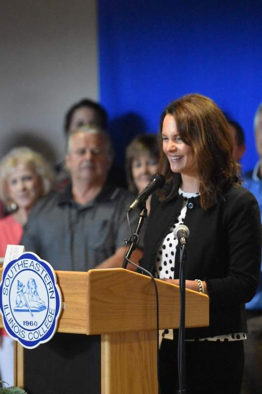 Natalie Phelps Finnie speaks Wednesday to people gathered at Southeastern Illinois College, after she was appointed 118th District state representative.