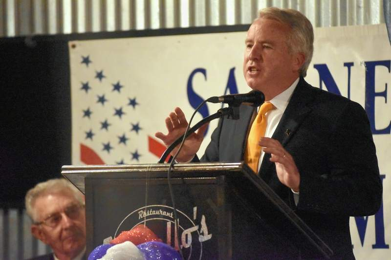 Chris Kennedy speaks Saturday night at a forum for candidates.