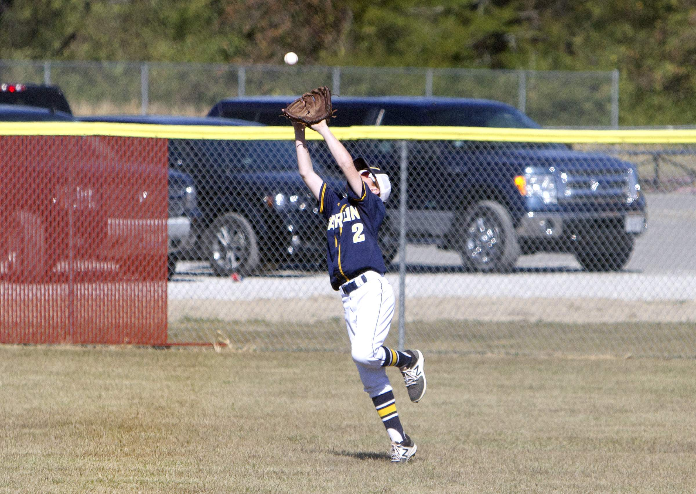 Cole Bundren makes a catch in right field.