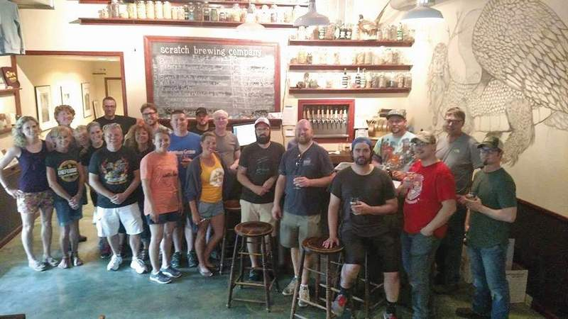 Members of the Southern Illinois Beer Trail gather at Scratch for a meeting.