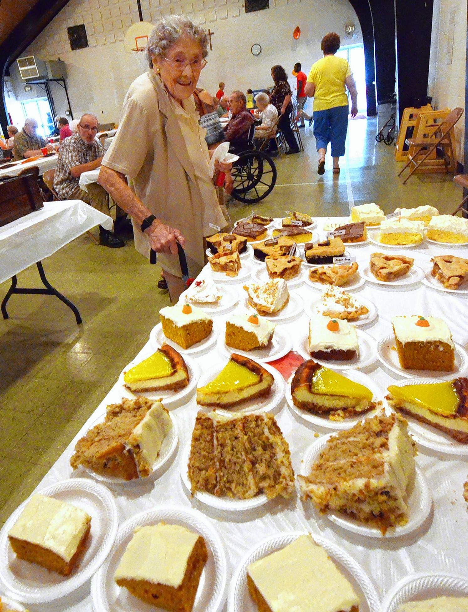 Lebera Pyle, 104, checked out the dessert table at the event.
