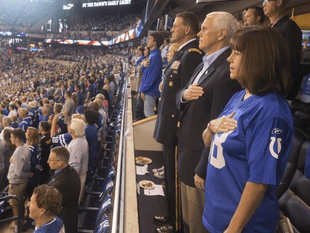 Vice President Mike Pence stands during the National Anthem at the Oct. 8 Colts-49ers game.