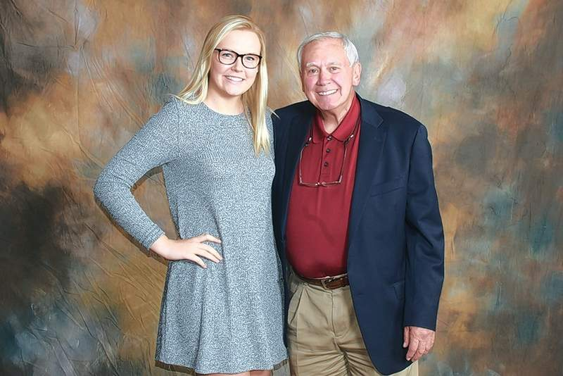 Dr. Bill and Mary Roe Scholarship recipient Caitlyn Anderson (Pinckneyville), left, is pictured with scholarship donor Dr. Bill Roe.