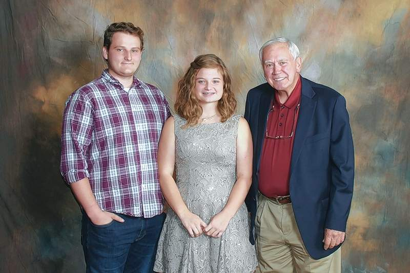 Dr. Gene and Ramona Stotler Scholarship recipients Michael O'Neal (Pinckneyville) and Marissa Stowers (Pinckneyville) are pictured with scholarship donor Dr. Bill Roe.