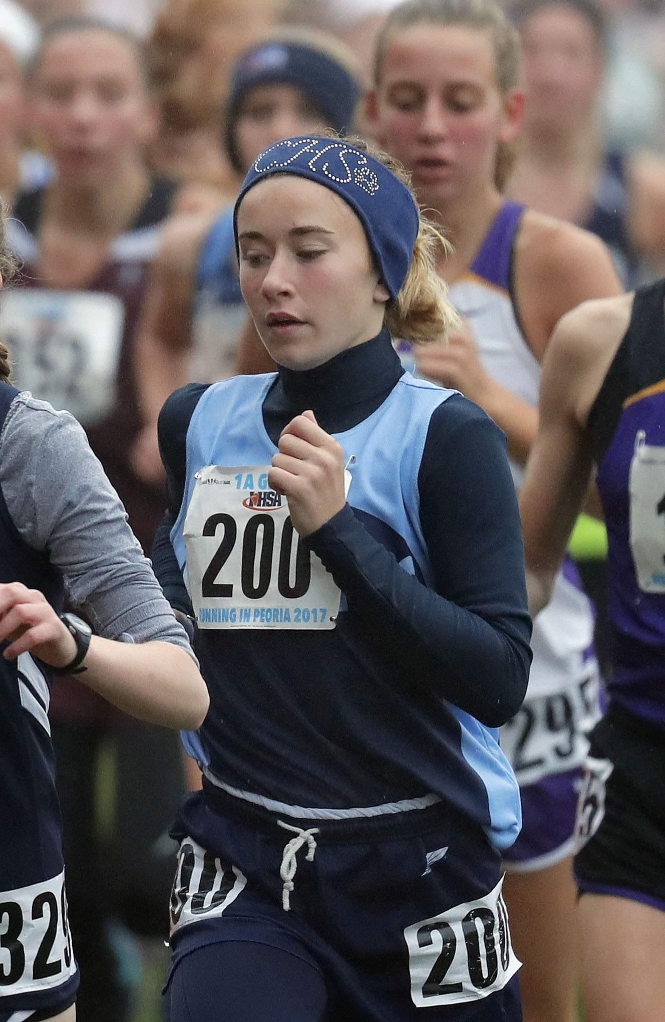 Pinckneyville's Dakota Krone (200) runs in the girls Class 1A cross-country finals Saturday in Peoria.