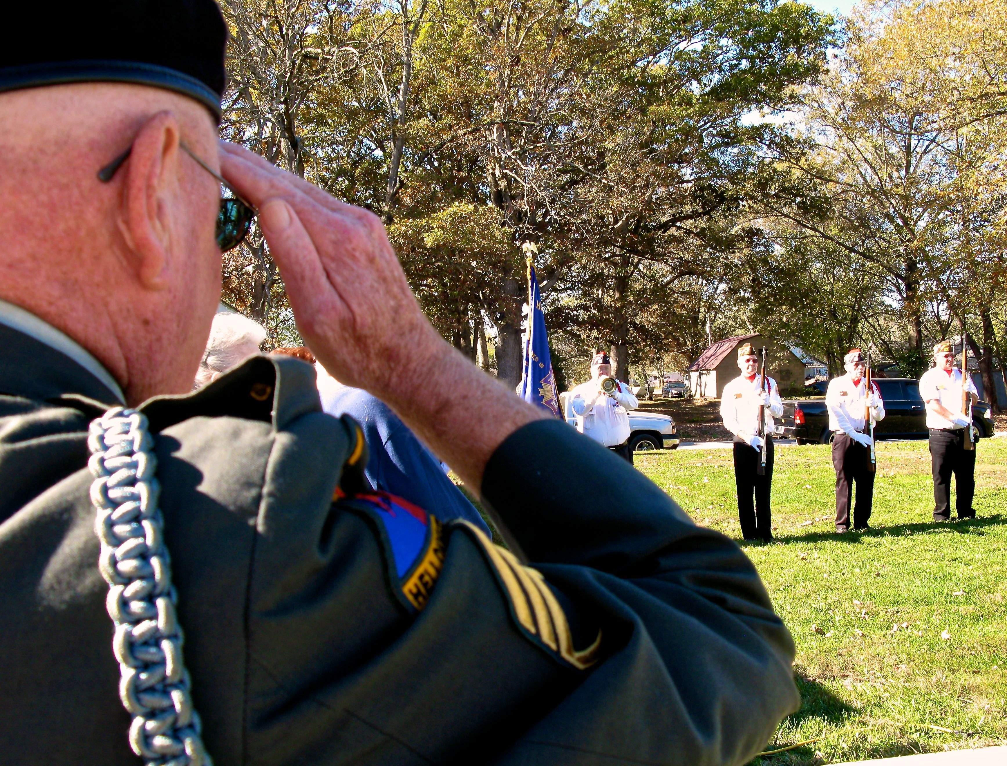 A local veterans salutes during the 2016 Veteran's Day program in Buckner.