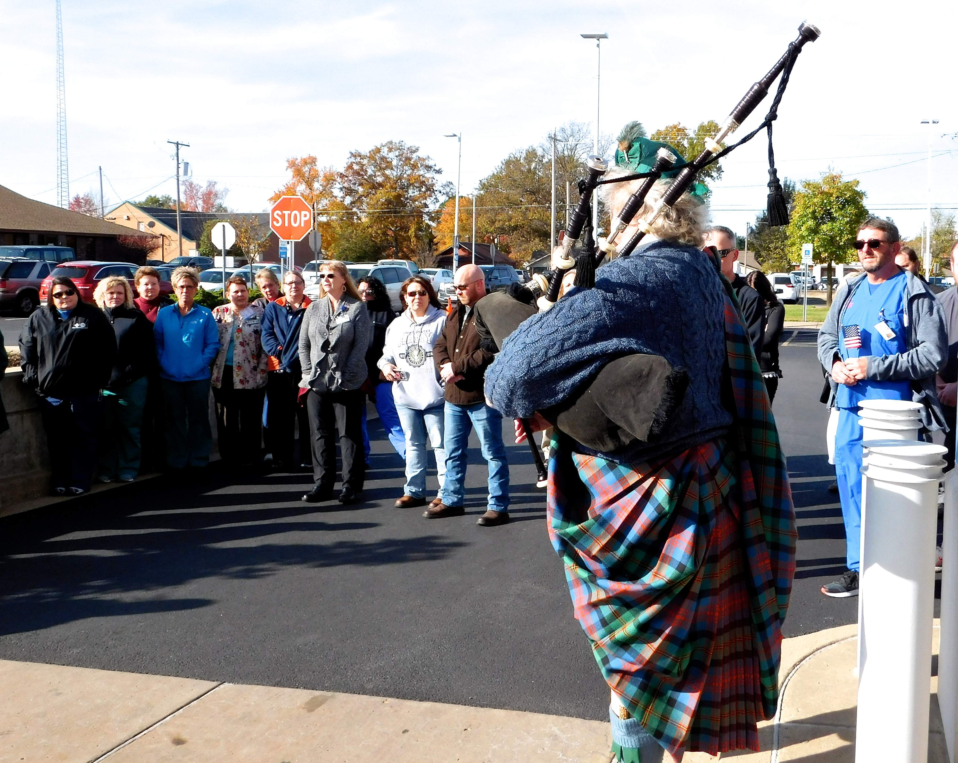 Johnston City bagpiper Les Lannom has been a part of the Herrin Hospital Veterans' Day program since its beginning.