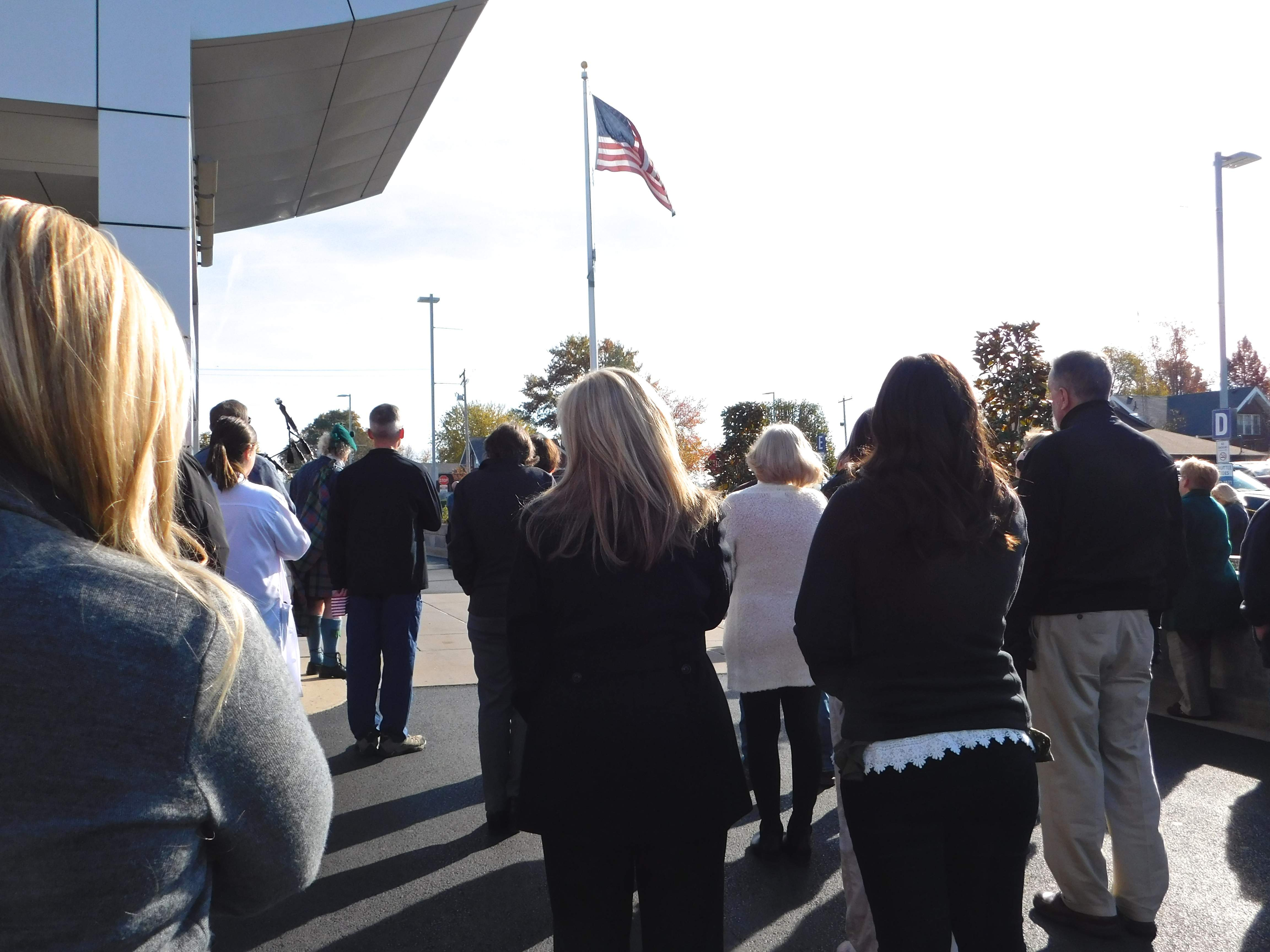Those gathered for Herrin Hospital's annual Veterans' Day program joined in singing The National Anthem following the flag-raising ceremony on Friday morning.