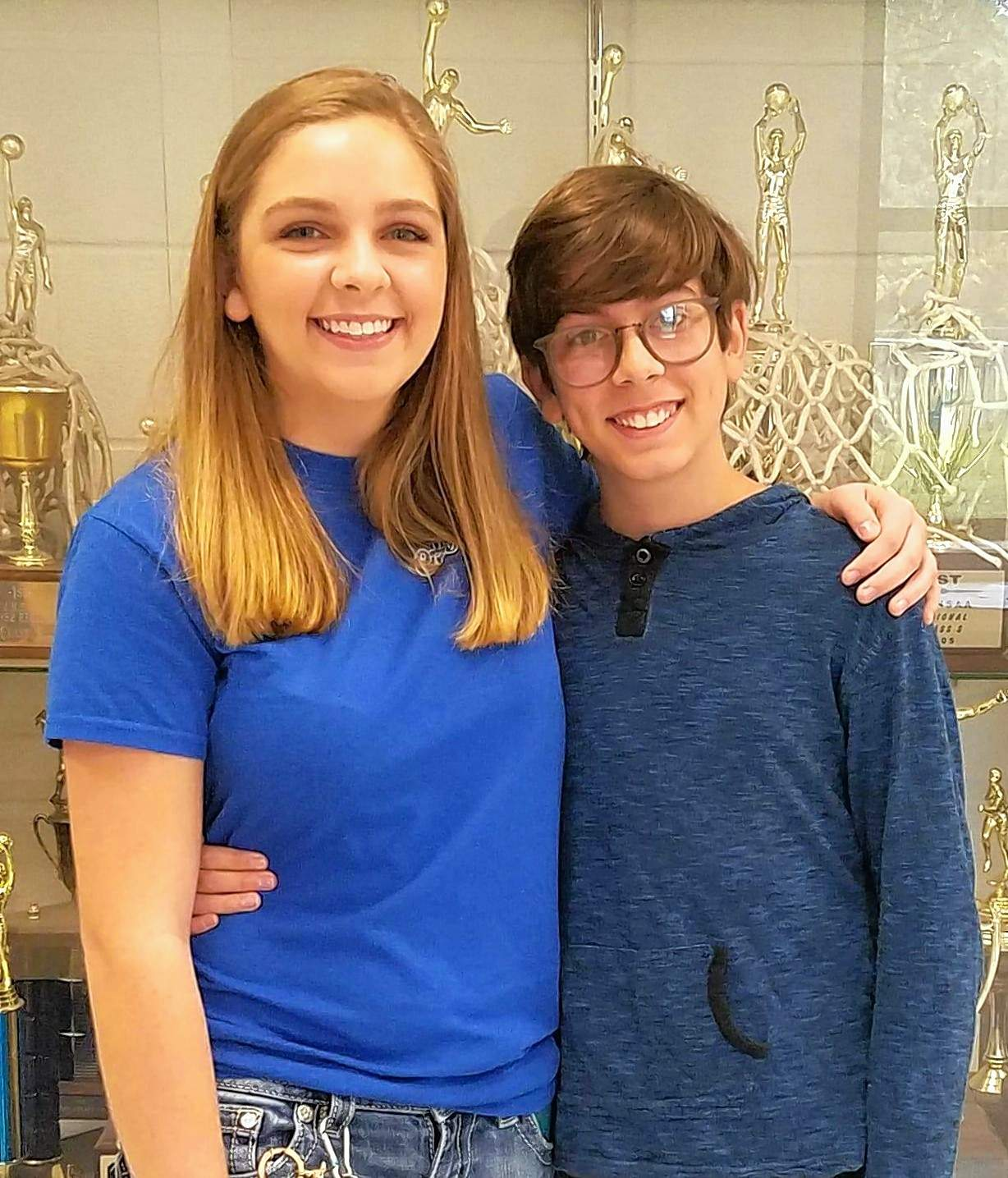 A brother-sister duo took tops spots in the Thompsonville school level of this year's VFW competitions. Senior Brandi Kerley (left) was also last year's Voice of Democracy winner for Benton's Post 2671. Her eighth-grade brother, Gavin, took the school's top spot in the Patriot's Pen essay competition.