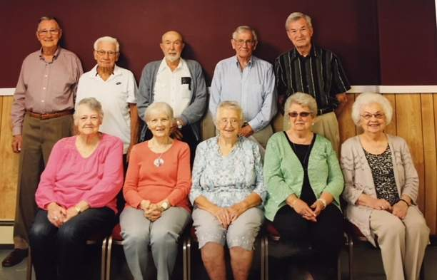 Reuniting from the Benton Consolidated High School Class of 1951 are (front row, from left) Eva (Evans) Maulhaney, Pat (Shockley) Davis, Jean (Day) Reed, Vanitta (Roberson) Hammond, Maxine (Hewlett) Page, (back row) J.C. Racine, Wayne Samuels, Denzil Franklin, Max Warren and Don Carlton. Sixteen turned out for the Sept. 30 reunion, which included spouses.