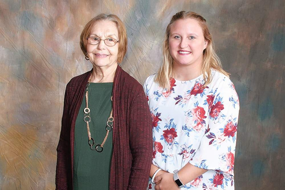 George and Anna Orshak and Paul and Bernice Petty Memorial Scholarship recipient Micah Neal (Benton), right, is pictured with scholarship donor Phyllis Petty.