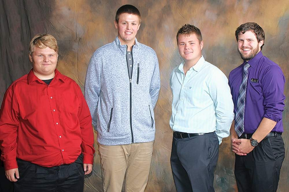 Howard L. Payne Nursing and Vocational Scholarship recipients, from left, Tyler Newbury (Waltonville), Ronald Rexing (Mt. Vernon, and Gavin Richardson (Benton), are pictured with RLC Foundation Development Coordinator Britt Fullerton.