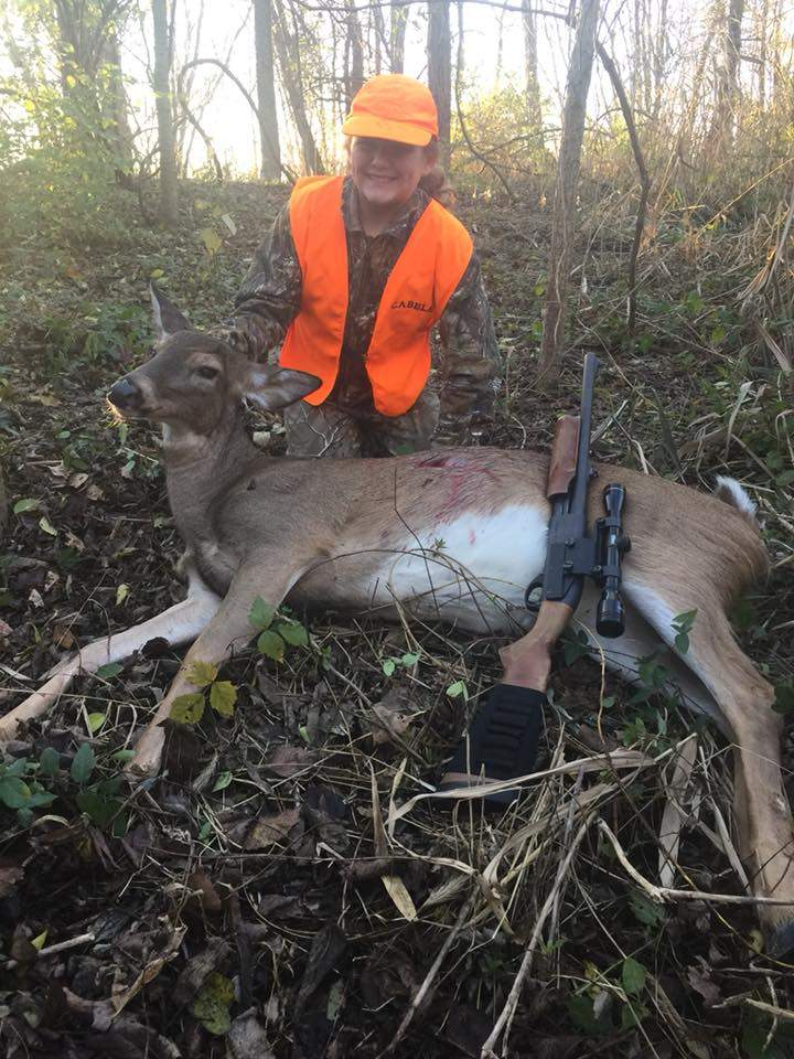 Shown is 12-year-old Mabry Wingerter, of Chester, with her first deer. Her father, Chris, posted on Facebook that she finished the youth season without seeing a deer, only to have the pictured doe walk out at 20 yards only five minutes into her hunt on Nov. 19.